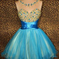 Unique Ball Gown Round Neckline Mini Beaded Prom Dress