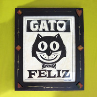 Cat Lover Happy Cat Mexican Framed Art Print by DexMex on Etsy