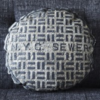 NYC SEWER canvas printed pillow