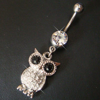 14g~3/8 Cute Owl Belly B...