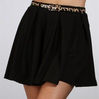 SALE-Black Skirt With Leopard Skinny Belt