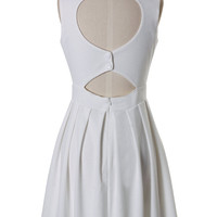 Heart Cut Out Pleated Dress in White - Dress - Retro, Indie and Unique Fashion
