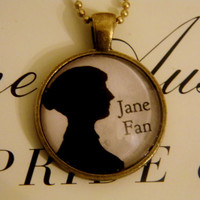Jane Austen Fan Necklace. Silhouette Necklace. 18 Inch Bronze Tone Chain.