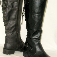 Tall Lace Up Buckle Combat Riding Boot* Low Heel Flat *Rubber Grip*