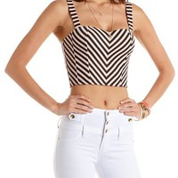 Zip-Back Striped Longline Bra: Charlotte Russe