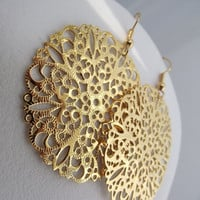 Round Golden Filigree Earrings Gold Earrings by JSWMetalWorks