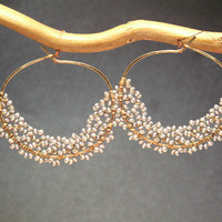 Cleopatra 118 Hoops wrapped with tiny seed pearls