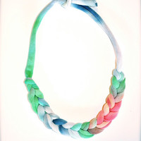 Braided Ombre Statement Necklace - Recycled Fabric Jewelry
