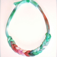 Fabric Necklace - Ombre Statement Jewelry - Green Salmon Blue