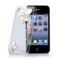 Iphone 4/4s Deckel Handmade Zirkon weisse Blumen Transparent - US$12.00