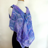 Blue Silk Fashion Shrug. Wool Felted Evening Wrap. Nuno Felted Wearable Art. Primrose