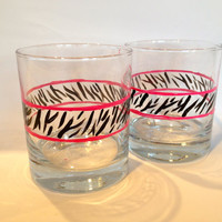Zebra Pint Glasses, Makes a great Wedding, Shower, bridal party gift