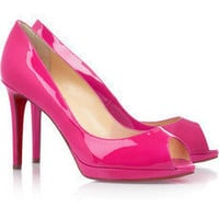 Christian Louboutin|Yolanda 100 patent-leather pumps|NET-A-PORTER.COM