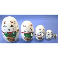 Amazon.com: White Maneki Neko Matryoshka Nesting Doll #MD1/W: Home & Kitchen