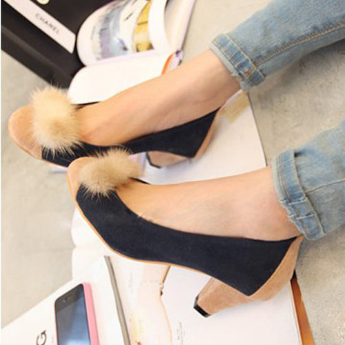 Korea Girls Lovely Faux Fur Faux Suede Med Casual Classics Heels Pumps Shoe