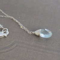 Necklace Aquamarine Sterling Silver Wire by BelleReveDesigns