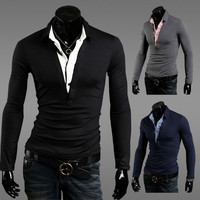 Fashion Men Inset Two Layer Look Shirt