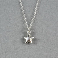 Tiny Puffy Star Necklace, 925 Sterling Silver, Simple, Cute, Delicate Necklace, Free Birthstone