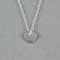 Tiny Heart Disc Necklace, 925 Sterling Silver, Simple, Cute,  Sweet, Delicate Necklace, Free Birthstone