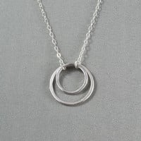 Double Eternity Rings Necklace, 925 Sterling Silver, Pretty, Simple, Everyday Wear Necklace