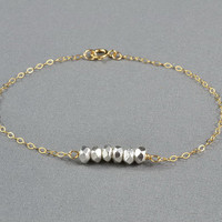 Beautiful Fine Silver Beads Bracelet, 14K Gold Filled Chain, Pretty, Everyday Wear Jewelry