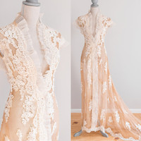 Antique Tea-Stained Victorian Edwardian Wedding/Dressing Trained Gown with Tulle, Lace Pleated Organza