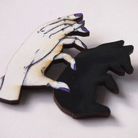 Bear Shadow Puppets with Purple Nails Laser Cut Wood Brooch
