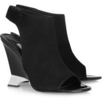 Diane von Furstenberg|Elsa suede cutout open-toe ankle boots|NET-A-PORTER.COM
