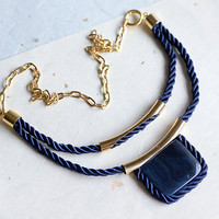 Dark Blue Rope Necklace with Stone square on golden by pardes