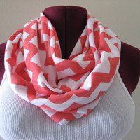 Infinity Scarf in Chevron Valentine's Day , Coral pink and White Fashion