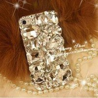 Bling handmade crystal diamond cross stylish case cover for iPhone4 4S LMANZ