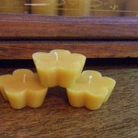 100% All Natural Pure Beeswax Floating Flowers Tea Light Candles - Set of 3