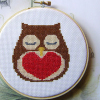 Cross Stitch PDF Pattern Owl And Heart Valentine | Luulla