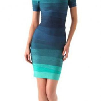 Starry Ombre Bandage Dress Blue