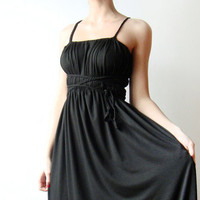 Black long Convertible dress with braided straps  by WhimsyTime