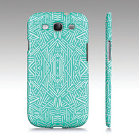 Samsung Galaxy S3 case, tribal aztec ethnic pattern design, mint aqua white, art for your phone