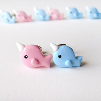 Narwhal Post Earrings Mix n Match Pink and Blue by MadAristocrat