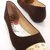 Brown Smooth Faux Suede Carved Spike Metallic Flats @ Amiclubwear Flats Shoes online store:Women's Casual Flats,Sexy Flats,Black Flats,White Flats,Women's Casual Shoes,Summer Shoes,Discount Flats,Cheap Flats,Spring Shoes,Cute Flats Shoes,Women's Flats Sho