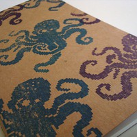 8 Bit Octopus large moleskine cahier journal (lined) pixel geek notebook