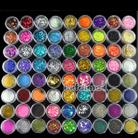 72 Pots 6 Kinds Glitter Decoration Powder Crush Shell Bead Nail Art Make Up