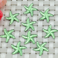 Green Starfish STAR Acrylic cabochon- flat back resin lot of 15- decoden-scrapbook button