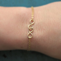Gold Double Infinity Bracelet Tiny Charm Minimalist Jewelry Designer Inspired bridesmaid gifts Sorority Gifts