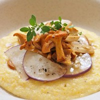 Chanterelles and Turnips with Garlic Butter and Creamy Polenta