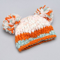 Bitsy Bees - Orange & Aqua Pom-Pom Beanie - Infant & Toddler
