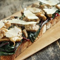 Red Chard and Oyster Mushroom Toast with Shaved Parmesan