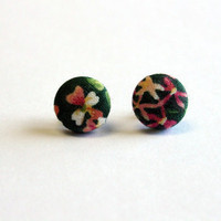 Fabric Button Earrings  Green Garden by ColorMeFabricbyNikki