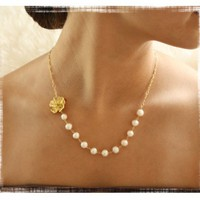 Wedding Freshwater Pearl Necklace with by VirginiaGeigerJewels