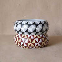NEW  All tiled up handpainted wooden bracelet - set of 2