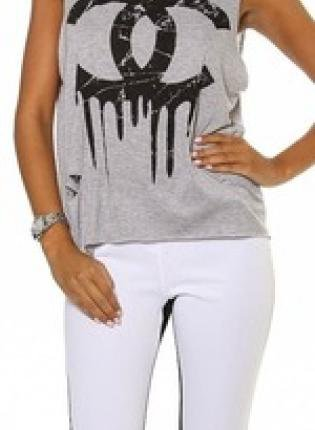 Grey Sleeveless Distressed CC Logo Crop Top