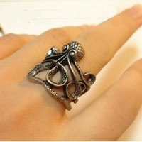 Hollow retro octopus cute rings